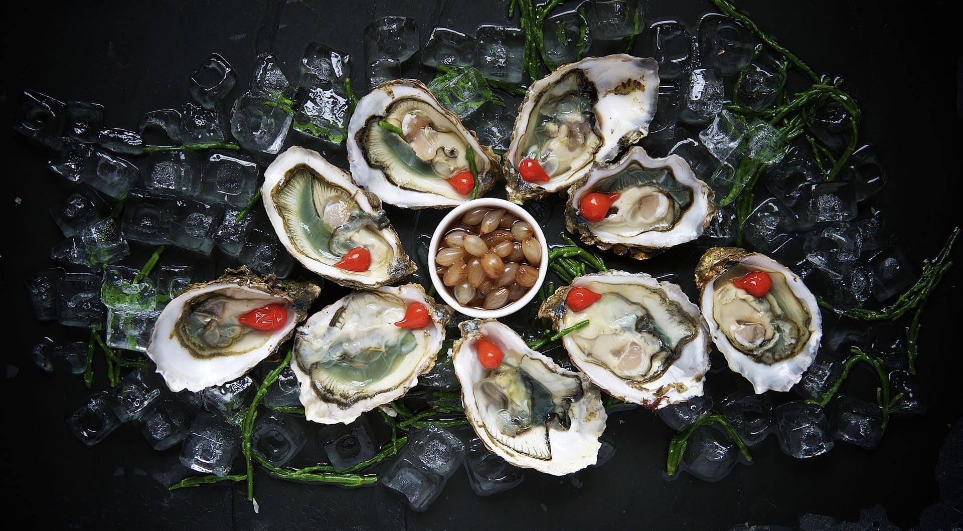 お皿に並んだ牡蠣